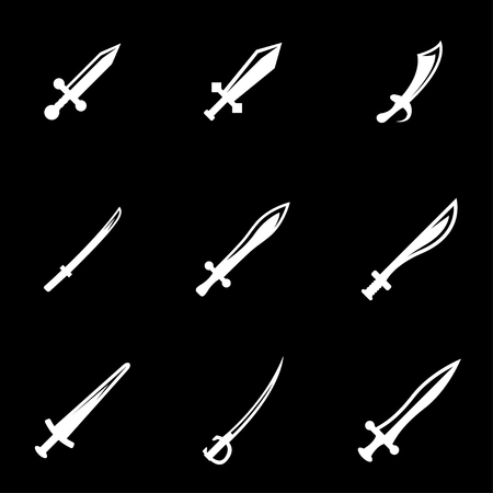 sword fight: Vector white sword icon set. Sword Icon Object, Sword cart Icon Picture, Sword Icon Image - stock vector