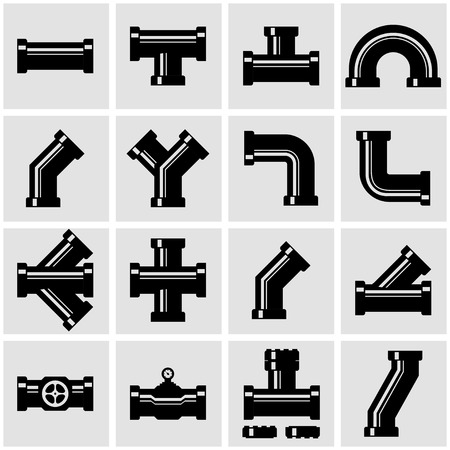 Vector black pipe fittings icon set. Pipe Fittings Icon Object, Pipe Fittings Icon Picture, Pipe Fittings Icon Image - stock vector Illustration