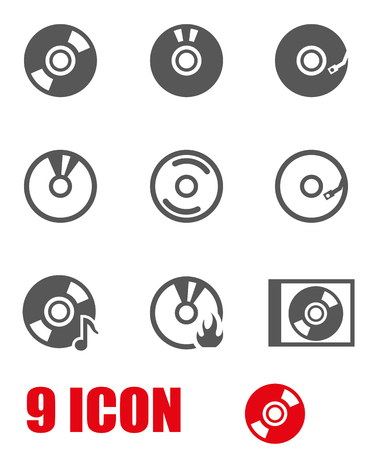 Vector grey cd icon set. CD Icon Object,  CD  Icon Picture, CD Icon Image,  CD Icon Graphic,  CD Icon JPG,  CD Icon EPS,  CD Icon AI - stock vector