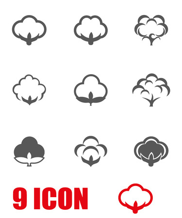 Vector grey cotton icon set. Cotton Icon Object,  Cotton  Icon Picture,  Cotton Icon Image,  Cotton Icon Graphic,  Cotton Icon JPG,  Cotton Icon JPEG,  Cotton Icon EPS,  Cotton Icon AI - stock vector