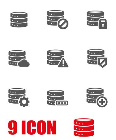 Vector grey database icon set. Database Icon Object, Database  Icon Picture, Database Icon Image, Database Icon Graphic, Database Icon JPG, Database Icon EPS, Database Icon AI - stock vector