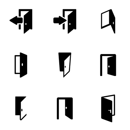 close: Vector black door icon set. Door Icon Object, Door  Icon Picture, Door Icon Image, Door Icon Graphic, Door Icon JPG, Door Icon EPS, Door Icon AI - stock vector