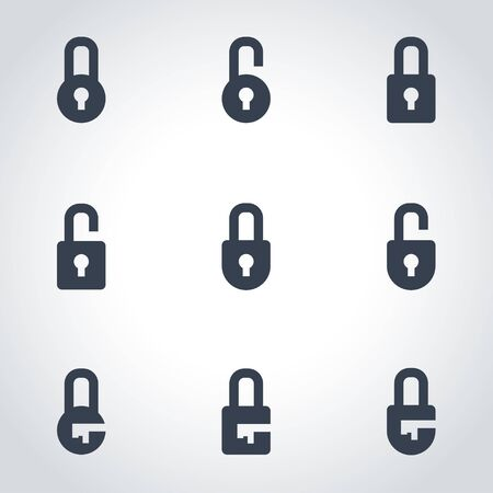lock: Vector black locks icon set. Locks Icon Object, Locks Icon Picture, Locks Icon Image - stock vector Illustration