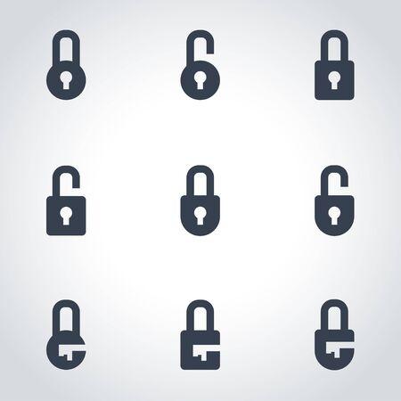Vector black locks icon set. Locks Icon Object, Locks Icon Picture, Locks Icon Image - stock vector Illustration