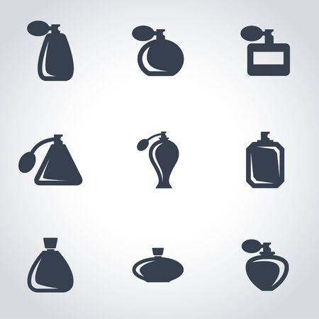 perfume: Vector black perfume icon set. Perfume Icon Object, Perfume Icon Picture, Perfume Icon Image - stock vector