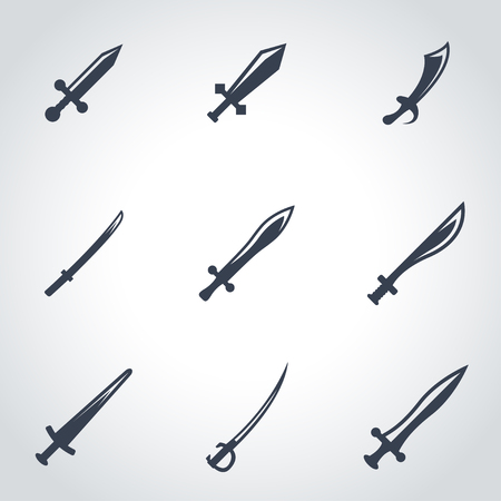 sword fight: Vector black sword icon set. Sword Icon Object, Sword cart Icon Picture, Sword Icon Image - stock vector
