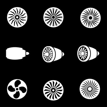 planos electricos: Vector turbinas blanco conjunto de iconos. Turbinas icono del objeto, Turbinas icono de imagen, Turbinas Icono Imagen - Imagen vectorial Vectores