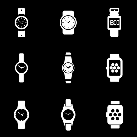 wristwatch: Vector white wristwatch icon set. Wristwatch Icon Object, Wristwatch Icon Picture, Wristwatch Icon Image - stock vector