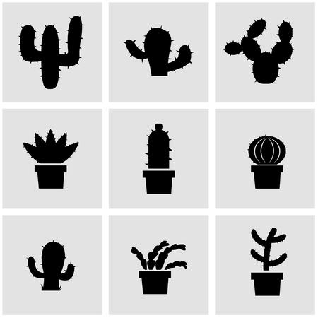 mexico cactus: Vector black cactus icon set. Cactus Icon Object, Cactus Icon Picture, Cactus Icon Image - stock vector