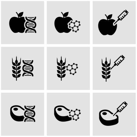 soy free: Vector black genetically modyfied food icon set. Genetically Modyfied Food Icon Object, Genetically Modyfied Food Icon Picture, Genetically Modyfied Food Icon Image - stock vector