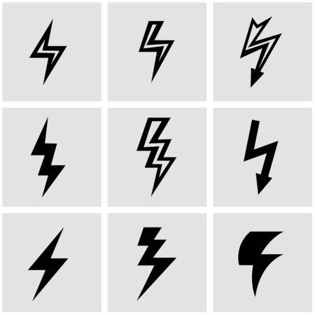 rayo electrico: set vector icono de un rayo negro. Icono Objeto rayo, relámpago icono de la imagen, los rayos de imagen de iconos - Imagen vectorial