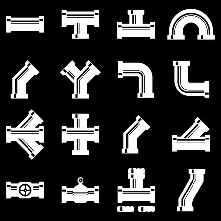 fittings: Vector white pipe fittings icon set. Pipe Fittings Icon Object, Pipe Fittings Icon Picture, Pipe Fittings Icon Image - stock vector