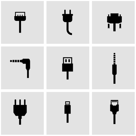 plug adapter: Vector black plug icon set. Plug Icon Object, Plug Icon Picture, Plug Icon Image - stock vector Illustration