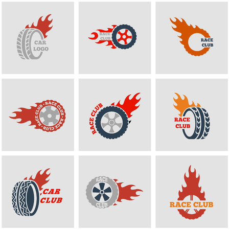 Vector black Racing labels icon set. Racing labels Icon Object, Racing labels Icon Picture, Racing labels Icon Image - stock vector Illustration