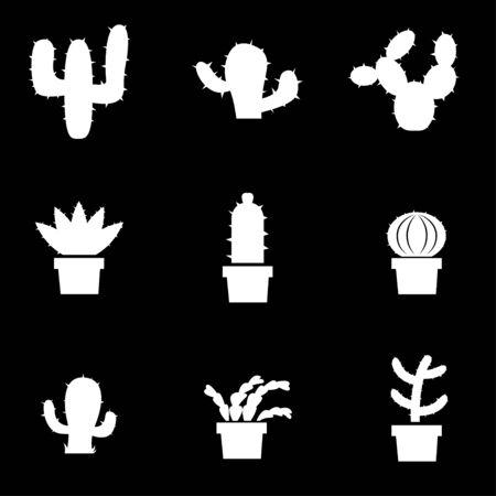 mexico cactus: white cactus icon set. Cactus Icon Object, Cactus Icon Picture, Cactus Icon Image - stock  Illustration