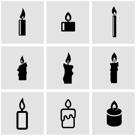 establece velas negras icono. Velas de objetos de iconos, velas icono de imagen