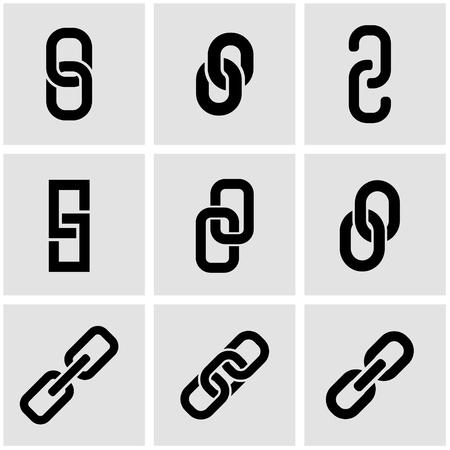 블랙 체인 또는 링크 아이콘을 설정합니다. 체인 또는 링크 아이콘 개체, 체인 또는 링크 아이콘 그림, 체인 또는 링크 아이콘 이미지 - 재고 일러스트