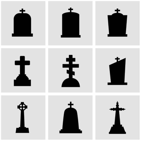 black gravestone icon set. Gravestone Icon Object, Gravestone Icon Picture, Gravestone Icon Image