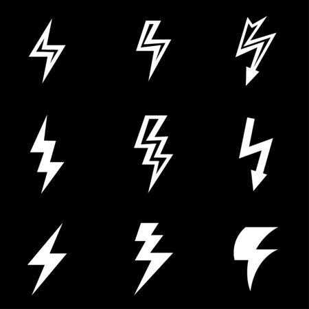 lightning storm: white lightning icon set. lightning Icon Object, lightning Icon Picture, lightning Icon Image