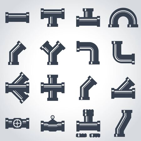 fittings: black pipe fittings icon set. Pipe Fittings Icon Object, Pipe Fittings Icon Picture, Pipe Fittings Icon Image Illustration
