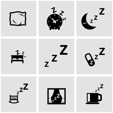 gente durmiendo: Conjunto del icono del negro del sueño. Icono del sueño objetos, icono de la imagen del sueño, el sueño Icono Imagen Vectores