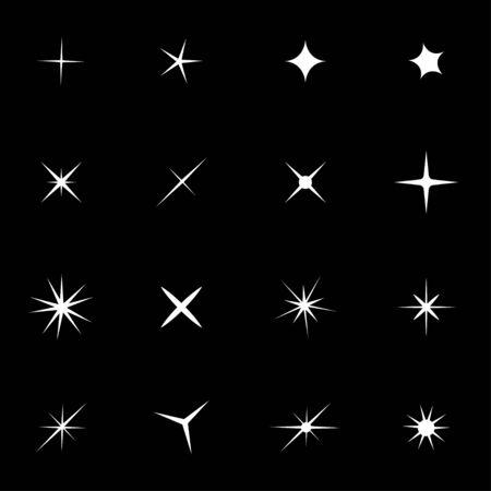 black star: white sparkles icon set. Sparkles Icon Object, Sparkles labels Icon Picture, Sparkles labels Icon Image  Illustration