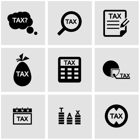 impuestos: Conjunto del icono del impuesto sobre negro. Icono de impuestos objeto, Icono de impuestos de imagen, imagen del icono de impuestos