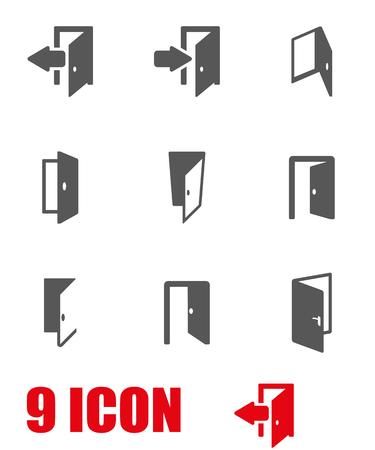 grijze deur icon set Stock Illustratie