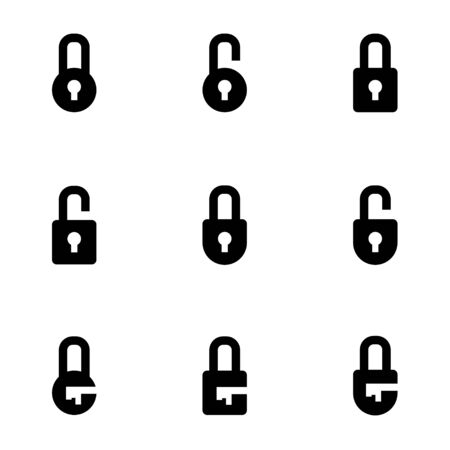 safety lock: black locks icon set Illustration