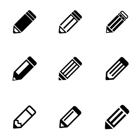 black pencil icon set Ilustrace