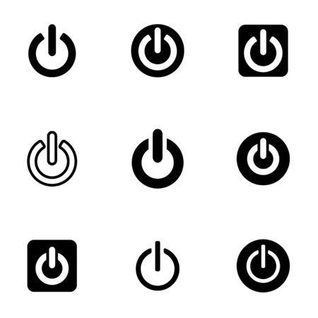 shut off: black shut down icon set Illustration