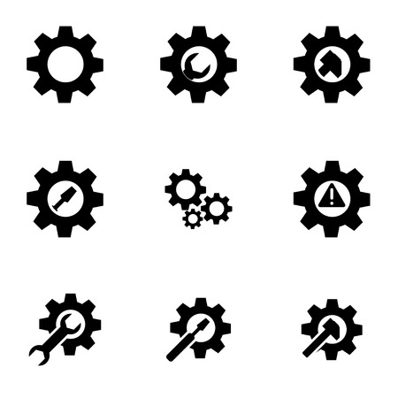 black tools in gear icon set  イラスト・ベクター素材