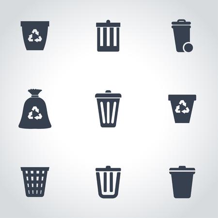 botes de basura: basura negro puede Icon Set Vectores