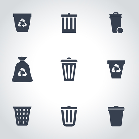 trash container: black trash can icon set Illustration