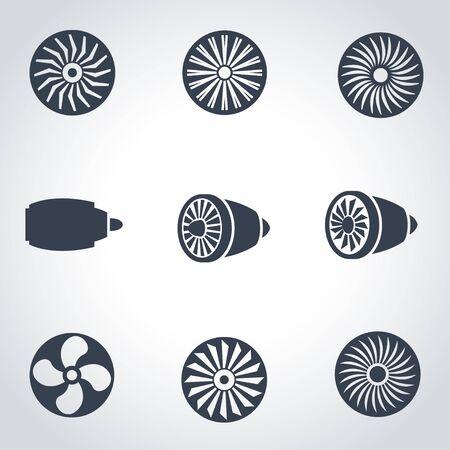 turbines: black turbines icon set