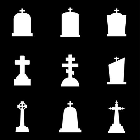 rip: Vector white gravestone icon set. Gravestone Icon Object, Gravestone Icon Picture, Gravestone Icon Image  Illustration