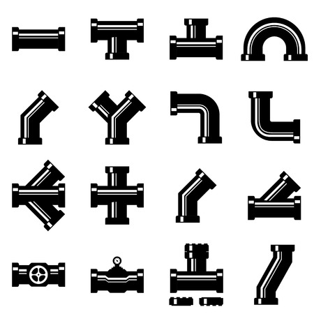 fittings: Vector black pipe fittings icon set. Pipe Fittings Icon Object, Pipe Fittings Icon Picture, Pipe Fittings Icon Image