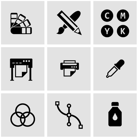 offset: Vector black polygraphy icon set. Polygraphy Icon Object, Polygraphy Icon Picture, Polygraphy Icon Image
