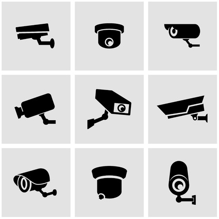 monitored area: Vector black security camera icon set. Security Camera Icon Object, Security Camera Icon Picture, Security Camera Icon Image