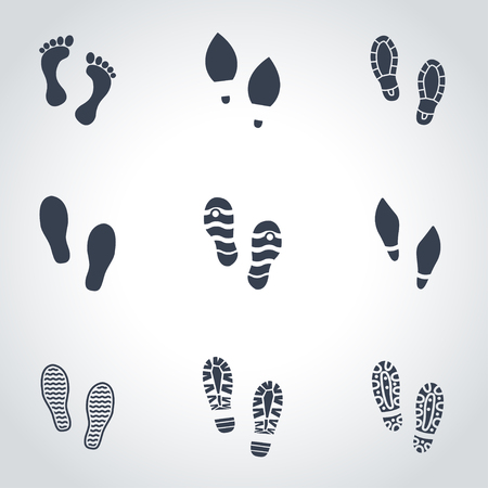 running shoe: Vector black shoes imprints icon set. Shoes Imprints Icon Object, Shoes Imprints Icon Picture, Shoes Imprints Icon Image - stock vector