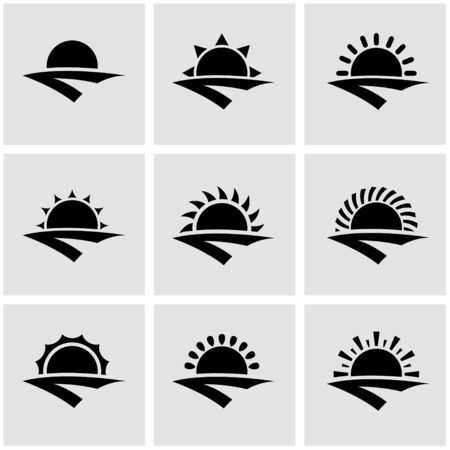 horizon: Vector black sunrise icon set. Sunrise Icon Object, Sunrise Icon Picture, Sunrise Icon Image Illustration
