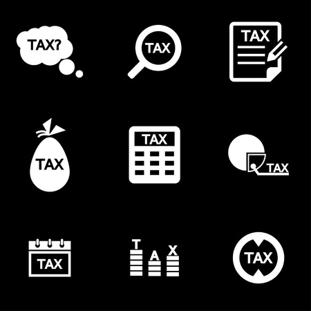 tax form: Vector white tax icon set. Tax Icon Object, Tax Icon Picture, Tax Icon Image  Illustration
