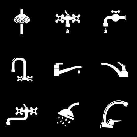 stopcock: Vector white water tap icon set. Water Tap Icon Object, Water Tap Icon Picture, Water Tap Icon Image  Illustration