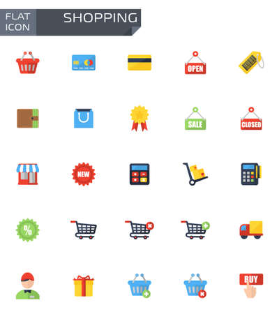 money button: Vector flat shopping icons set on white background.