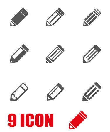Vector grey pencil icon set. Pencil Icon Object, Pencil Icon Picture, Pencil Icon Image