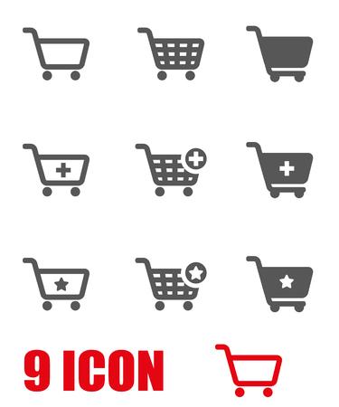 Vector grijze winkelmandje icon set. Winkelwagentje Icon Object, boodschappenwagentje Icon Picture, boodschappenwagentje Icon Afbeelding