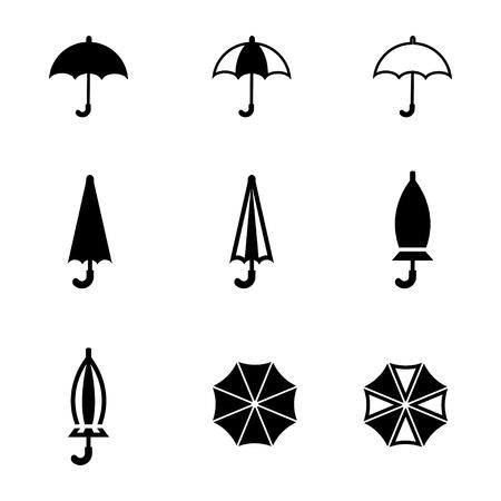 Vector zwarte paraplu icon set. Umbrella Icon Object, Umbrella Icon Beeld, paraplu pictogram Stock Illustratie