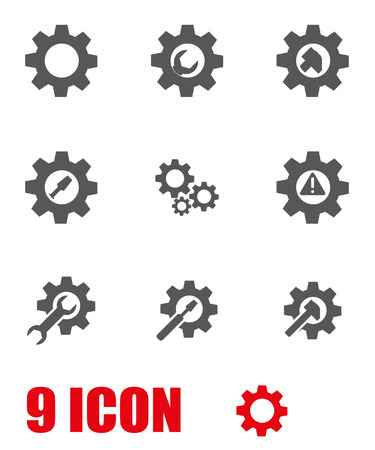 maintenance work: Vector grey tools in gear icon set. Tools in gear Icon Object, Tools in gear Icon Picture, Sword Icon Image