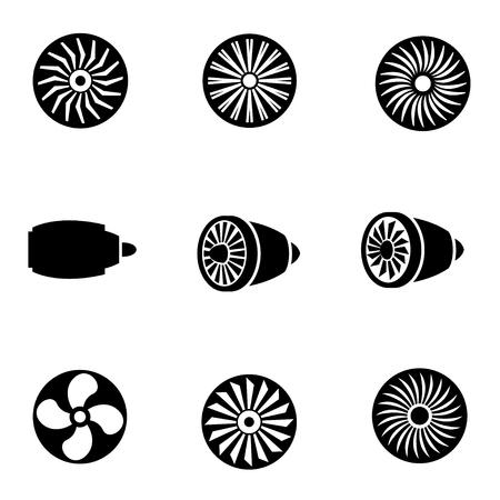 planos electricos: set vector icono negro de las turbinas. Icono Objeto turbinas, turbinas icono de imagen, turbinas de imagen de iconos