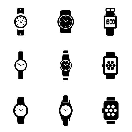 wristwatch: Vector black wristwatch icon set. Wristwatch Icon Object, Wristwatch Icon Picture, Wristwatch Icon Image